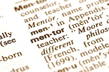 The word mentor isolated from the dictionary